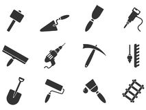 Simboli dell'attrezzatura della costruzione Immagine Stock Libera da Diritti