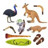 Simboli dell'Australia isolati Koala, canguro, surf, boomerang, struzzo, ornitorinco, didgeridoo illustrazione di stock