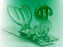 Simboli dell'euro e del dollaro Fotografia Stock