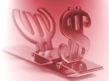 Simboli dell'euro e del dollaro Fotografie Stock