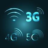 Simboli dell'icona di incandescenza di tecnologia Fi, 3G, 4G e 5G dei Wi Fotografia Stock