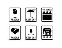 Simboli dell'imballaggio di vettore Immagini Stock Libere da Diritti