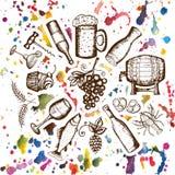 Simboli dell'insieme della birra, dell'insieme del vino, della birra e del vino sulle macchie gialle Immagine Stock Libera da Diritti