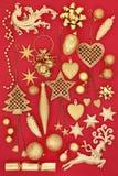 Simboli dell'oro del Natale Fotografie Stock Libere da Diritti