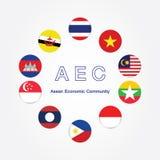 Simboli della bandiera della comunità economica del Asean di CEA Illustrazione di vettore Icona della bandiera di CEA Sud-est asi illustrazione di stock