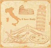 Simboli della carta dell'annata dell'Italia Fotografia Stock Libera da Diritti