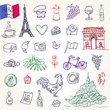Simboli della Francia come scarabocchi funky Fotografie Stock