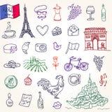 Simboli della Francia come scarabocchi funky Illustrazione di Stock