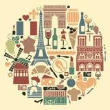 Simboli della Francia sotto forma di cerchio illustrazione vettoriale