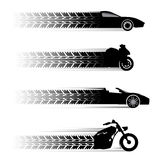 Simboli della motocicletta e dell'automobile Fotografia Stock Libera da Diritti
