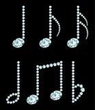Simboli della nota del diamante Fotografie Stock Libere da Diritti