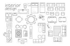 simboli della pianta di interior design del ` mobilia di vista superiore simbolo di cad Fotografie Stock Libere da Diritti