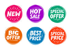 Simboli della raccolta quale l'offerta speciale, vendita calda, migliore prezzo, nuovo icone Immagine Stock Libera da Diritti