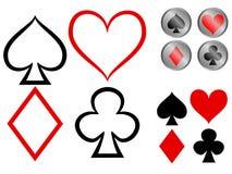 Simboli della scheda di gioco Fotografie Stock Libere da Diritti