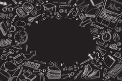 Simboli delle icone della scuola di scarabocchio di vettore di clipart della scuola Fotografie Stock