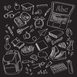 Simboli delle icone della scuola di scarabocchio di vettore di clipart della scuola Immagine Stock Libera da Diritti