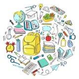 Simboli delle icone della scuola di scarabocchio di vettore di clipart della scuola Immagini Stock Libere da Diritti