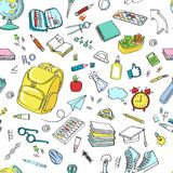 Simboli delle icone della scuola di scarabocchio di vettore di clipart della scuola illustrazione di stock