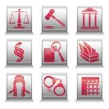 Simboli delle icone giustamente Immagine Stock