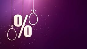 Simboli delle percentuali con i simboli di pasqua che appendono sulle corde una caduta dall'offerta di acquisto del soffitto royalty illustrazione gratis