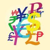 Simboli delle valute del mondo Immagini Stock Libere da Diritti