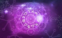 Simboli di astrologia dell'oroscopo illustrazione di stock