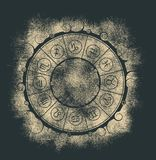 Simboli di astrologia nel cerchio Immagine Stock
