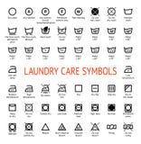Simboli di cura della lavanderia icone di pulizia impostate Immagine Stock