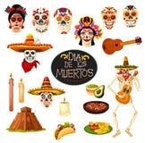 Simboli di Dia de los Muertos Cartolina d'auguri di vettore illustrazione vettoriale