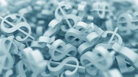 Simboli di dollaro blu Animazione concettuale 3D stock footage