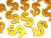 simboli di dollaro 3D su bianco Fotografia Stock