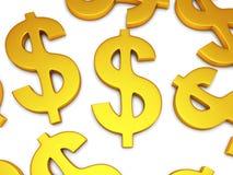simboli di dollaro 3D su bianco Fotografie Stock