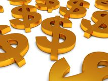 simboli di dollaro 3D su bianco Immagine Stock Libera da Diritti