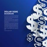 Simboli di dollaro di vettore su fondo blu Immagini Stock