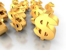 Simboli di dollaro dorati su fondo bianco Immagini Stock