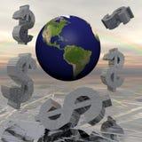 Simboli di dollaro ed estratto del pianeta Terra Fotografia Stock