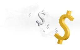 Simboli di dollaro nel soffio di fumo Fotografie Stock