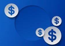 Simboli di dollaro su fondo blu Fotografia Stock