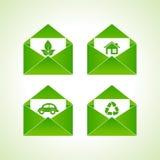 Simboli di ecologia con la busta Fotografie Stock Libere da Diritti