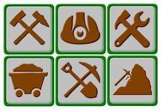 Simboli di estrazione mineraria Fotografie Stock