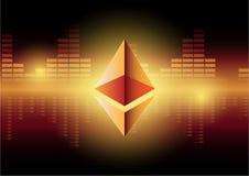 Simboli di Ethereum su fondo blu astratto Concetto in competizione di cryptocurrencies Fotografia Stock Libera da Diritti