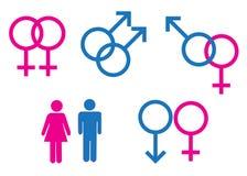 Simboli di genere maschii e femminili Fotografie Stock Libere da Diritti