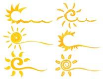 Simboli di insieme del sole luminoso illustrazione vettoriale