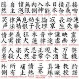 Simboli di Kanji Fotografia Stock