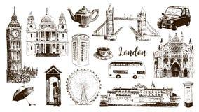 Simboli di Londra: Big Ben, ponte della torre, bus, membro della guardia, cassetta delle lettere, cabina telefonica St Paul Cathe Royalty Illustrazione gratis