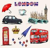 Simboli di Londra. Insieme dei disegni. Immagini Stock