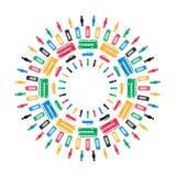 Simboli di Londra nei colori di Olimpiadi Immagine Stock Libera da Diritti