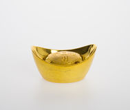 Simboli di media del lingotto dell'oro di cinese o dell'oro di ricchezza e di prosperità Fotografia Stock Libera da Diritti