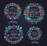 Simboli di Natale al neon Immagini Stock