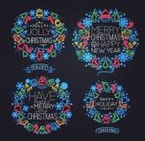 Simboli di Natale al neon Fotografia Stock